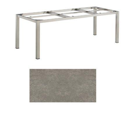 """Kettler Tischgestell 220x95cm """"Cubic"""", Edelstahl, mit Tischplatte Keramik grau-taupe"""