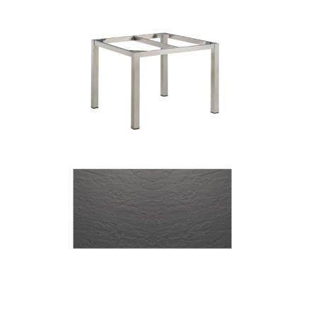 """Kettler Tischgestell 95x95cm """"Cubic"""", Edelstahl, mit Tischplatte Kettalux anthrazit"""