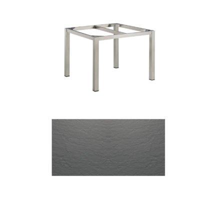 """Kettler Tischgestell 95x95cm """"Cubic"""", Edelstahl, mit Tischplatte Kettalux anthrazit-grau"""