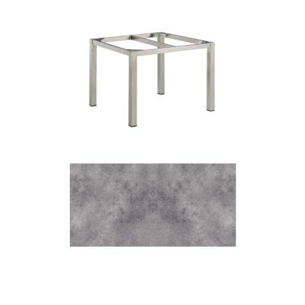 """Kettler Tischgestell 95x95cm """"Cubic"""", Edelstahl, mit Tischplatte HPL anthrazit"""