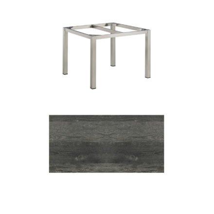 """Kettler Tischgestell 95x95cm """"Cubic"""", Edelstahl, mit Tischplatte HPL pinie-anthrazit"""