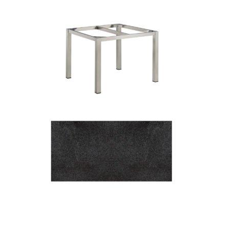"""Kettler Gartentisch, Tischgestell 95x95cm """"Cubic"""", Edelstahl, mit Tischplatte HPL Stahl"""