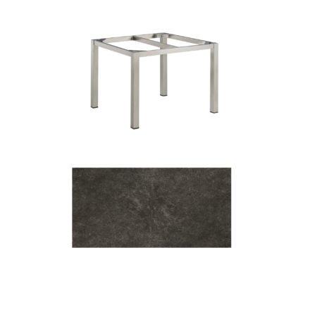 """Kettler Tischgestell 95x95cm """"Cubic"""", Edelstahl, mit Tischplatte Keramik anthrazit"""