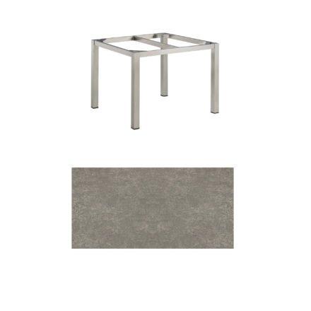 """Kettler Tischgestell 95x95cm """"Cubic"""", Edelstahl, mit Tischplatte Keramik grau-taupe"""