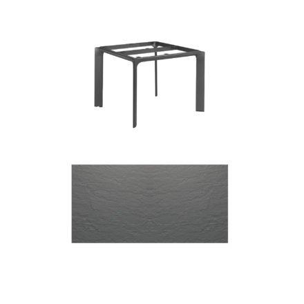 """Kettler Tischgestell 95x95cm """"Diamond"""", Alu anthrazit, mit Tischplatte Kettalux anthrazit-grau"""