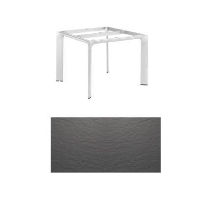 """Kettler Tischgestell 95x95cm """"Diamond"""", Alu silber, mit Tischplatte Kettalux anthrazit"""