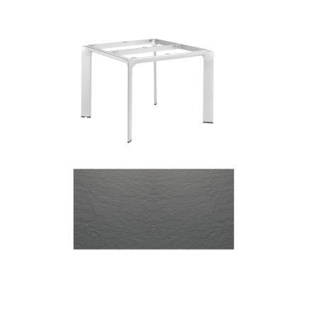 """Kettler Tischgestell 95x95cm """"Diamond"""", Alu silber, mit Tischplatte Kettalux anthrazit-grau"""