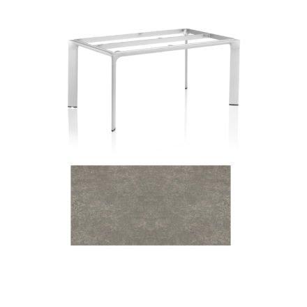 """Kettler Tischgestell 160x95cm """"Diamond"""", Alu silber, mit Tischplatte Keramik grau-taupe"""