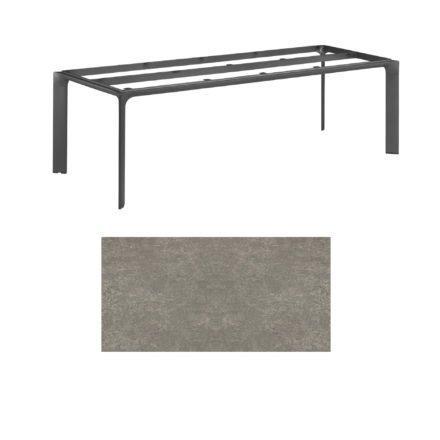 """Kettler Tischgestell 220x95cm """"Diamond"""", Alu anthrazit, mit Tischplatte Keramik grau-taupe"""