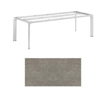 """Kettler Tischgestell 220x95cm """"Diamond"""", Alu silber, mit Tischplatte Keramik grau-taupe"""