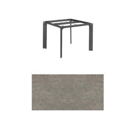 """Kettler Tischgestell 95x95cm """"Diamond"""", Alu anthrazit, mit Tischplatte Keramik grau-taupe"""
