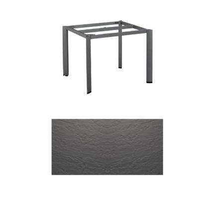 """Kettler Tischgestell 95x95cm """"Edge"""", Aluminium eisengrau, mit Tischplatte Kettalux anthrazit"""