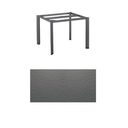 """Kettler Tischgestell 95x95cm """"Edge"""", Aluminium eisengrau, mit Tischplatte Kettalux anthrazit-grau"""