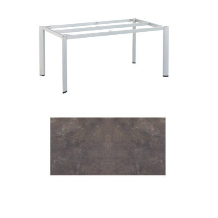 """Kettler Tischgestell 160x95cm """"Edge"""", Aluminium silber, mit Tischplatte HPL mocca"""