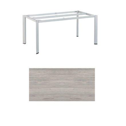 "Kettler Tischgestell 160x95cm ""Edge"", Aluminium silber, mit Tischplatte HPL olive-grey"