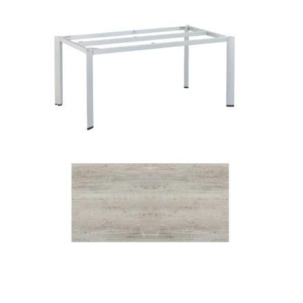 "Kettler Tischgestell 160x95cm ""Edge"", Aluminium silber, mit Tischplatte Keramik beach-grey"