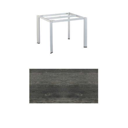 """Kettler Tischgestell 95x95cm """"Edge"""", Aluminium silber, mit Tischplatte HPL pinie-anthrazit"""