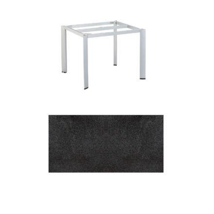 """Kettler Tischgestell 95x95cm """"Edge"""", Alu silber, mit Tischplatte HPL Stahl"""