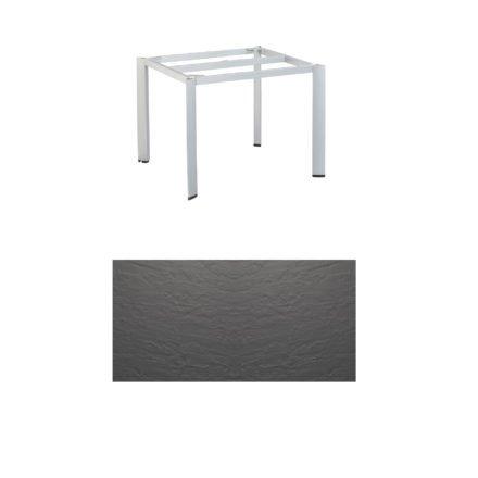 """Kettler Tischgestell 95x95cm """"Edge"""", Aluminium silber, mit Tischplatte Kettalux anthrazit"""