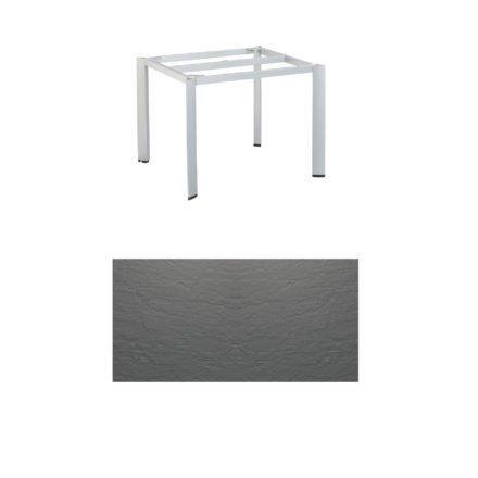 """Kettler Tischgestell 95x95cm """"Edge"""", Aluminium silber, mit Tischplatte Kettalux anthrazit-grau"""