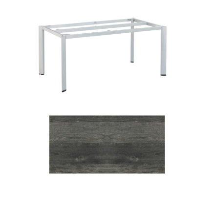 """Kettler Tischgestell 160x95cm """"Edge"""", Aluminium silber, mit Tischplatte HPL pinie-anthrazit"""