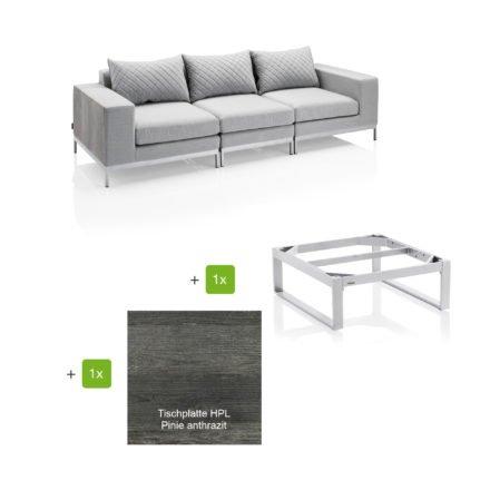 """Kettler """"Ego Modular"""" Loungegruppe bestehend aus 2 Seitenteilen, Mittelteil und Loungetisch rechteckig """"Ego"""", Tischplatte HPL Pinie anthrazit"""