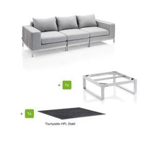 """Kettler """"Ego Modular"""" Loungegruppe bestehend aus 2 Seitenteilen, Mittelteil und Loungetisch rechteckig """"Ego"""", Tischplatte HPL Stahl"""