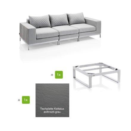"""Kettler """"Ego Modular"""" Loungegruppe bestehend aus 2 Seitenteilen, Mittelteil und Loungetisch rechteckig """"Ego"""", Tischplatte Kettalux Plus anthrazit grau"""
