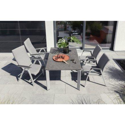 """Kettler Gartenmöbel-Set mit Stapesessel und Multipositionssessel """"Forma"""" sowie Tisch """"Diamond"""", Aluminium silber, Tischplatte HPL anthrazit"""