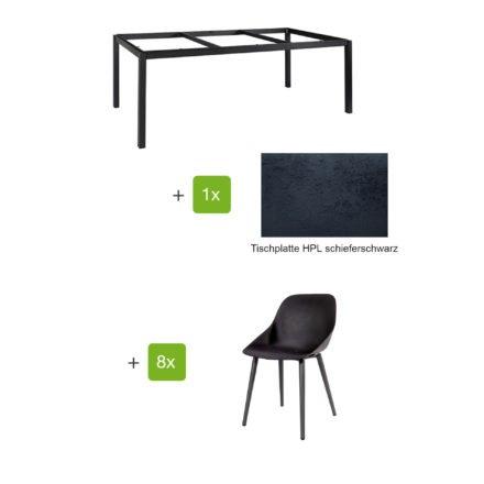 """Jati & Kebon Gartenmöbel-Set mit Tisch """"Lugo"""" 220x100cm, Alu eisengrau, Tischplatte HPL schieferschwarz, und Schalensessel """"Galati"""", Alu eisengrau"""
