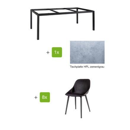 """Jati & Kebon Gartenmöbel-Set mit Tisch """"Lugo"""" 220x100cm, Alu eisengrau, Tischplatte HPL zementgrau, und Schalensessel """"Galati"""", Alu eisengrau"""
