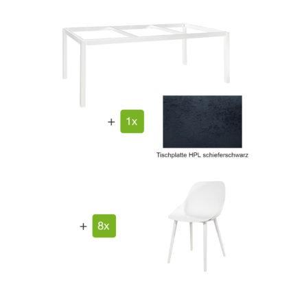 """Jati & Kebon Gartenmöbel-Set mit Tisch """"Lugo"""" 220x100cm, Alu weiß, Tischplatte HPL schieferschwarz, und Schalensessel """"Galati"""", Alu weiß"""