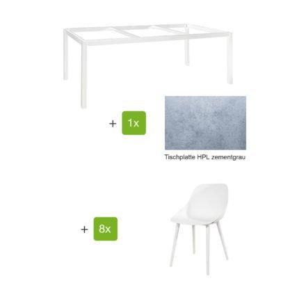 """Jati & Kebon Gartenmöbel-Set mit Tisch """"Lugo"""" 220x100cm, Alu weiß, Tischplatte HPL zementgrau, und Schalensessel """"Galati"""", Alu weiß"""