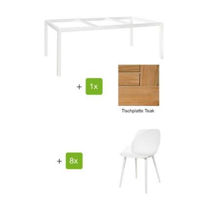 """Jati & Kebon Gartenmöbel-Set mit Tisch """"Lugo"""" 220x100cm, Alu weiß, Tischplatte Teak, und Schalensessel """"Galati"""", Alu weiß"""