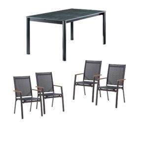 """Sieger Gartenmöbel-Set mit vier Stapelsessel """"Cadiz"""" und einem Ausziehtisch, Gestell Alu eisengrau, Textilen silbergrau, Tischplatte Vivodur Beton dunkel"""