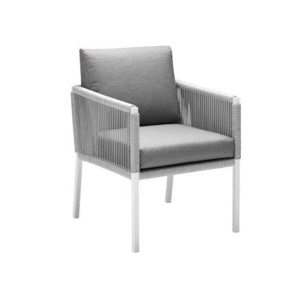 "Solpuri ""Club"", Dining-Sessel, Aluminium white, String-Flex white-grey, mit Polstern"