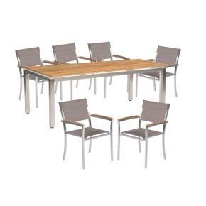 """Sonnenpartner Gartenmöbel-Set mit Stuhl """"Galaxy"""" und Tisch """"Base"""", Gestelle Edelstahl, Tischplatte Solid Old Teak natur"""