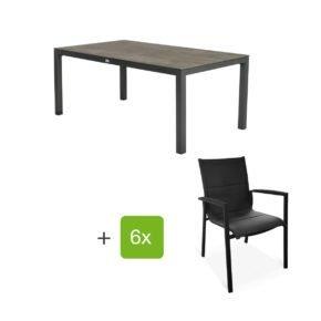 """Tierra Outdoor Gartenmöbel-Set mit Tisch """"Briga"""", Alu anthrazit, Platte HPL forest grey, 180x100 cm, Stuhl """"Foxx"""", Alu anthrazit, Textilgewebe grau gepolstert, Armlehnen Alu"""