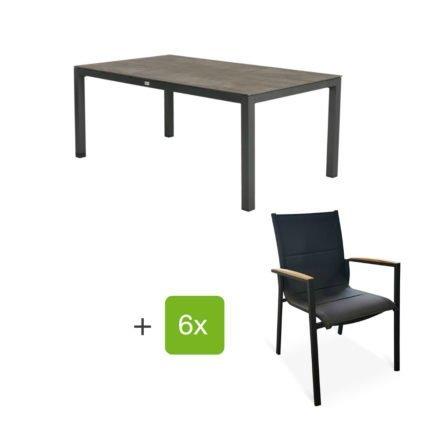 """Tierra Outdoor Gartenmöbel-Set mit Tisch """"Briga"""", Alu anthrazit, Platte HPL forest grey, 180x100 cm, Stuhl """"Foxx"""", Alu anthrazit, Textilgewebe grau gepolstert, Armlehnen Teak"""