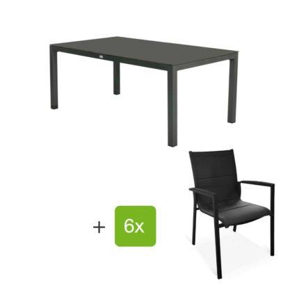 """Tierra Outdoor Gartenmöbel-Set mit Tisch """"Briga"""", Alu anthrazit, Platte HPL graphit, 180x100 cm, Stuhl """"Foxx"""", Alu anthrazit, Textilgewebe grau gepolstert, Armlehnen Alu"""