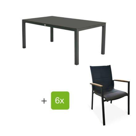 """Tierra Outdoor Gartenmöbel-Set mit Tisch """"Briga"""", Alu anthrazit, Platte HPL graphit, 180x100 cm, Stuhl """"Foxx"""", Alu anthrazit, Textilgewebe grau gepolstert, Armlehnen Teak"""