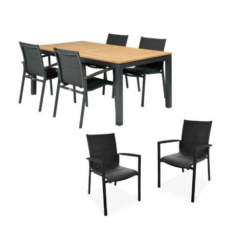 """Tierra Outdoor Gartenmöbel-Set mit Tisch """"Briga"""", Alu anthrazit, Platte Teak, 180x100 cm, Stuhl """"Foxx"""", Alu anthrazit, Textilgewebe grau gepolstert, Armlehnen Alu"""