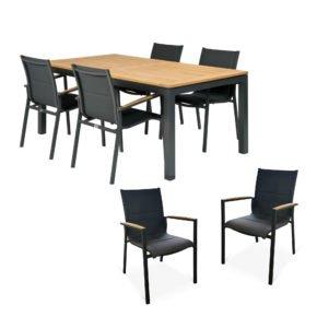 """Tierra Outdoor Gartenmöbel-Set mit Tisch """"Briga"""", Alu anthrazit, Platte Teak, 180x100 cm, Stuhl """"Foxx"""", Alu anthrazit, Textilgewebe grau gepolstert, Armlehnen Teak"""