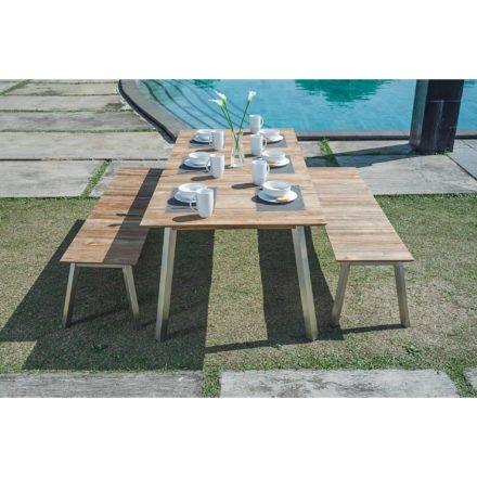 """Zebra Gartentisch """"Linax"""" und Gartenbank """"Linax"""", Gestell Edelstahl, Tischplatte und Sitzfläche recyceltes Teakholz"""