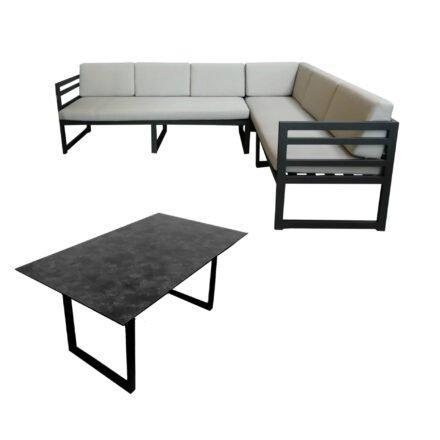 "Jati&Kebon ""Yoro"" Casual Dining, SET B – lange Seite rechts | Tischplatte HPL Granit dunkelgrau, Gestelle Alu eisengrau, Polster Olefin light grey"