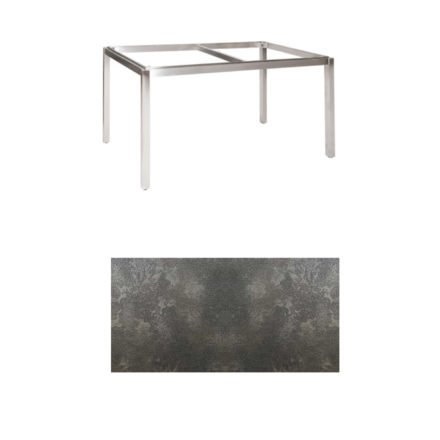 "Jati & Kebon Tischgestell ""Muri"" 130x80 cm, Edelstahl, Tischplatte HPL Granit dunkelgrau"