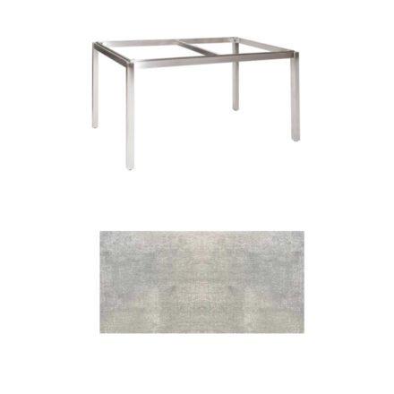 "Jati & Kebon Tischgestell ""Muri"" 130x80 cm, Edelstahl, Tischplatte HPL Granit hellgrau"