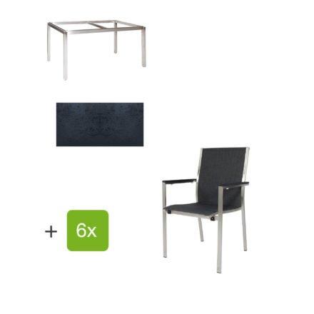 """Jati & Kebon Gartentisch 160x90 cm """"Muri"""", Tischplatte HPL schieferschwarz mit Gartenstuhl """"Darfo"""", Textilgewebe basalt, Armlehnen Alu"""