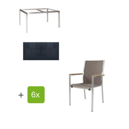 """Jati & Kebon Gartentisch 160x90 cm """"Muri"""", Tischplatte HPL schieferschwarz mit Gartenstuhl """"Darfo"""", Textilgewebe sahara, Armlehnen Teak"""
