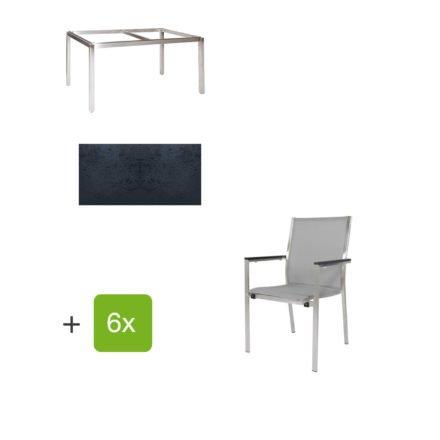 """Jati & Kebon Gartentisch 160x90 cm """"Muri"""", Tischplatte HPL schieferschwarz mit Gartenstuhl """"Darfo"""", Textilgewebe silbergrau, Armlehnen Alu"""